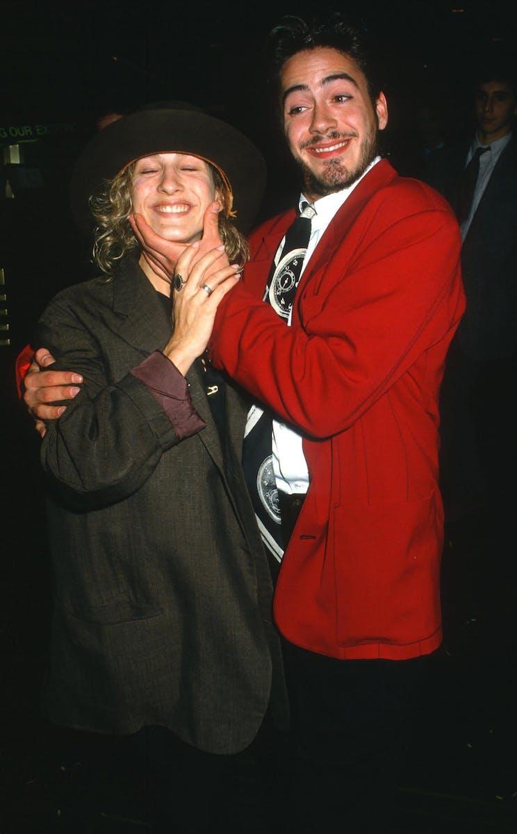 Sarah Jessica Parker and Robert Downey Jr. depart Saturday Night Live, October 24, 1987.