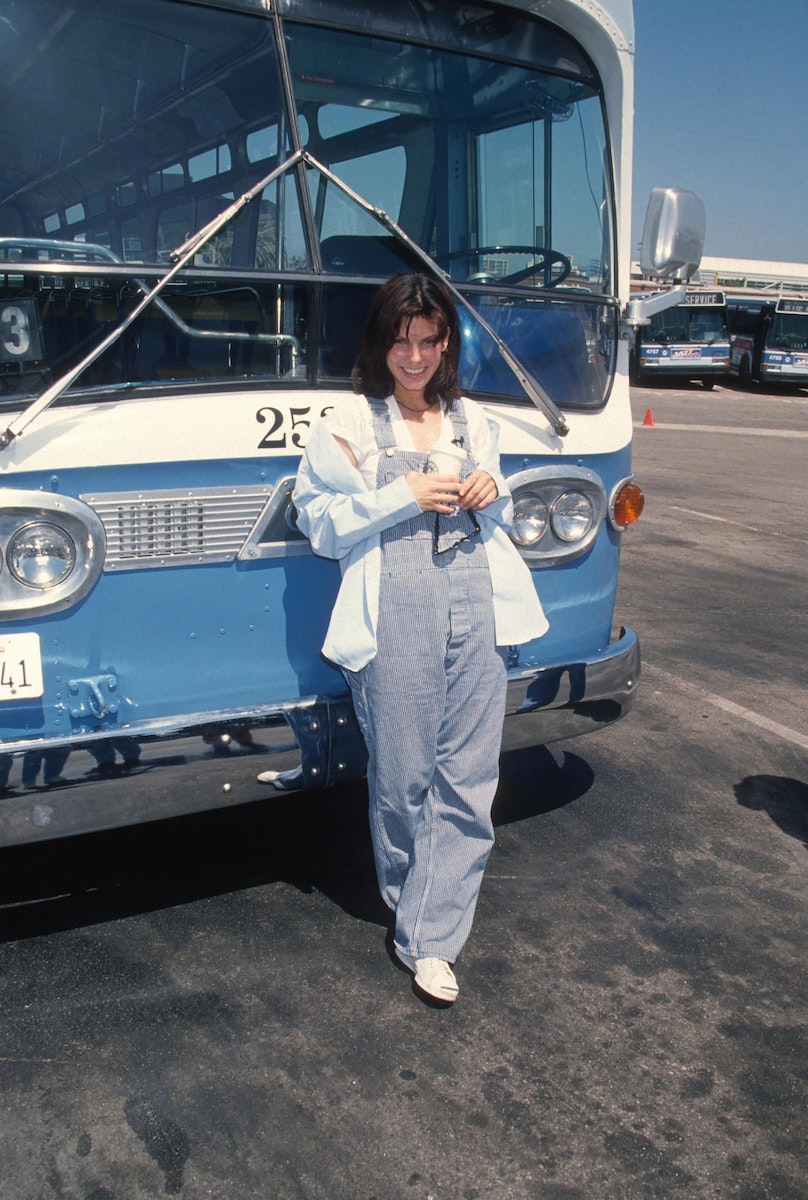Sandra Bullock takes a bus driver test during Speed promotion at Santa Monica Bus Lines in Santa Monica, California.